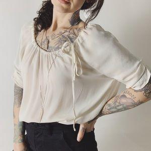JOIE Silk Drawstring Neckline Ivory Blouse